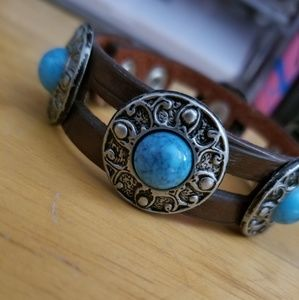 Genuine Leather and Turquoise bracelet